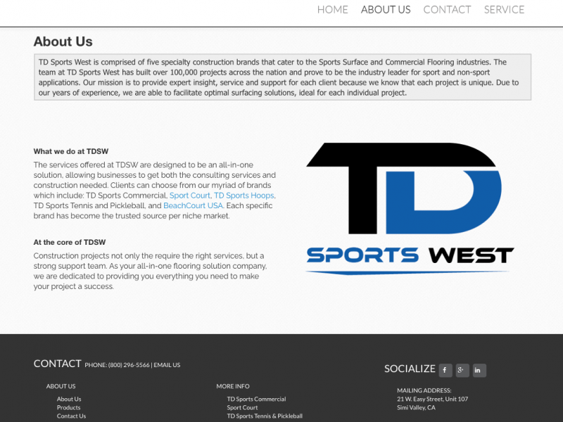 TD Sports About Us page